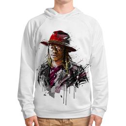 """Толстовка с полной запечаткой """"Человек в шляпе"""" - человек, шляпа, очки, куртка, арт"""