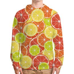 """Толстовка с полной запечаткой (Мужская) """"Цитрусы"""" - апельсин, лайм, лимон, грейпфрут, дольки"""