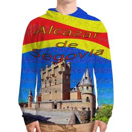 """Толстовка с полной запечаткой (Мужская) """"Замки Испании. Замок Сеговия."""" - голубой, испания, полоски, крепость, испанский флаг"""