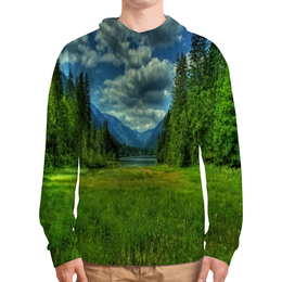 """Толстовка с полной запечаткой """"Горный пейзаж"""" - лес, природа, горы, трава, озеро"""