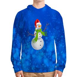 """Толстовка с полной запечаткой """"Снеговик"""" - новый год, зима, снеговик, снежинки, праздник"""