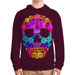 "Толстовка с полной запечаткой ""Skull Art"" - skull, череп, цветы, черепа, skulls"