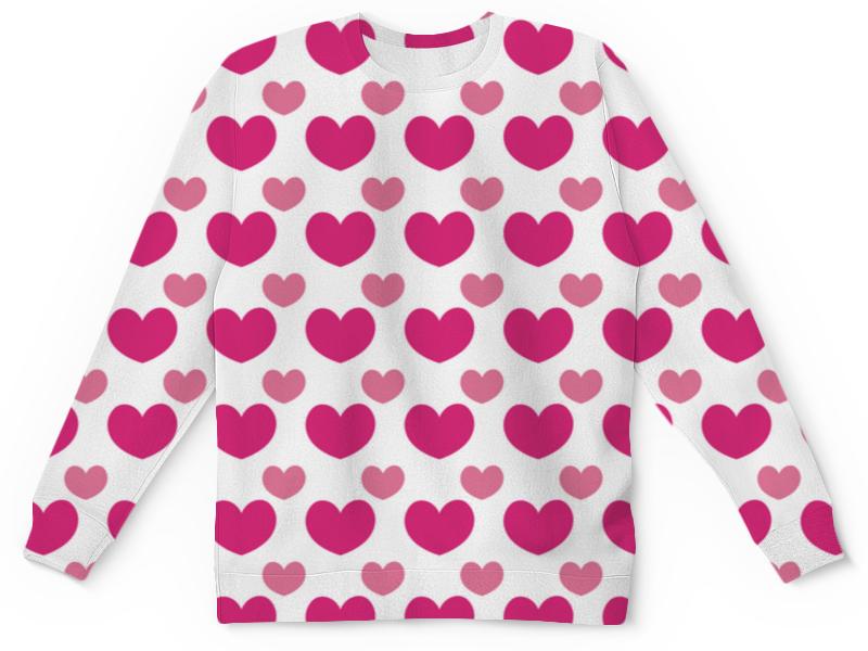 Детский свитшот унисекс Printio Розовые сердечки