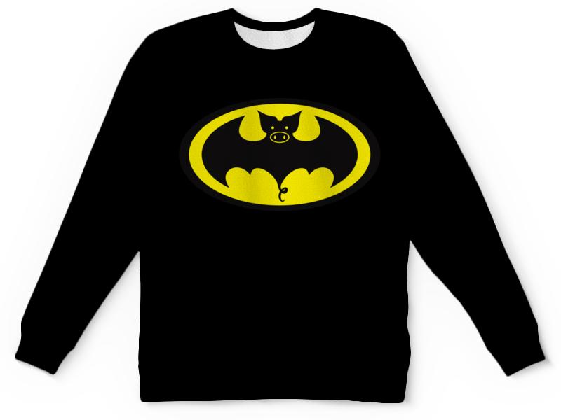 Детский свитшот унисекс Printio Свин - бэтмен цена
