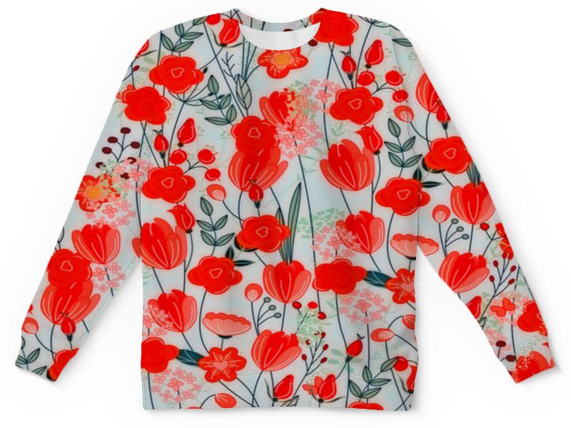 Детский свитшот унисекс Printio Красные цветы