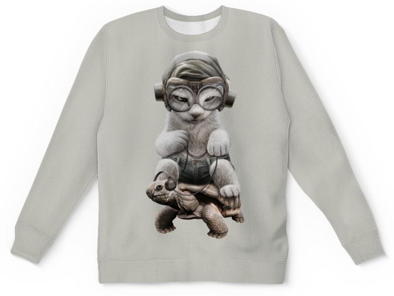 Детский свитшот унисекс Printio Кот на черепахе printio детский свитшот унисекс