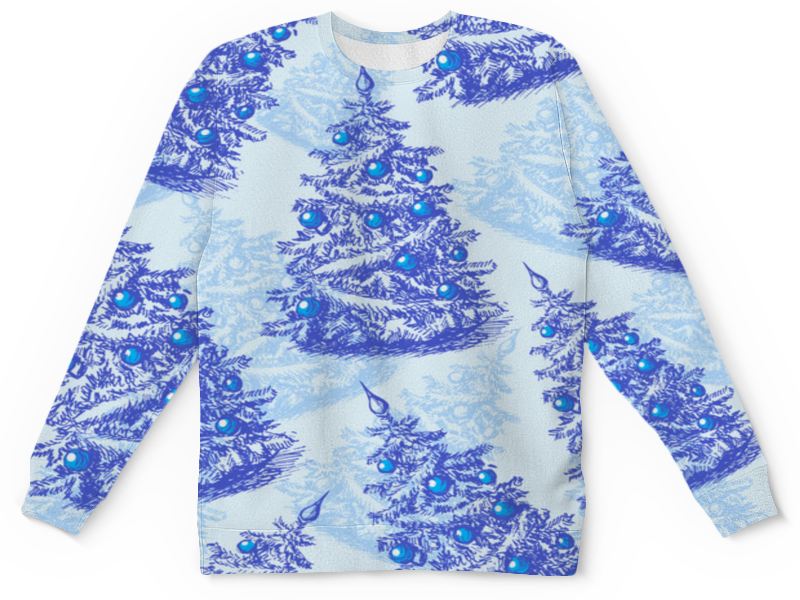 Детский свитшот унисекс Printio Снежные елки снежные барсы