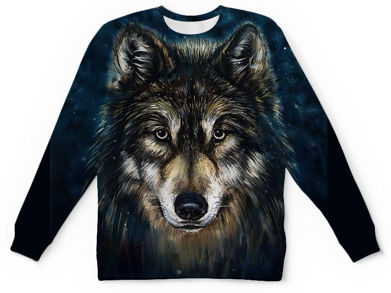 Детский свитшот унисекс Printio Волки фэнтези. седой волк цена