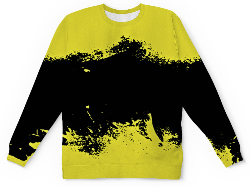 Детский свитшот унисекс Printio Черно-желтые краски цена