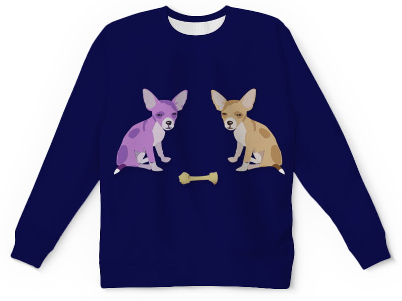 Детский свитшот унисекс Printio Собачки компьютерный синие собачки