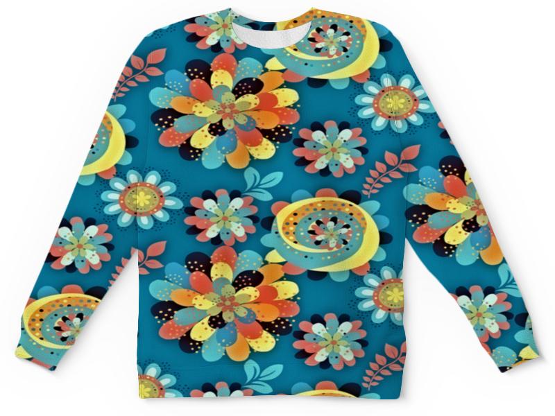 Детский свитшот унисекс Printio Цветы в красках цена