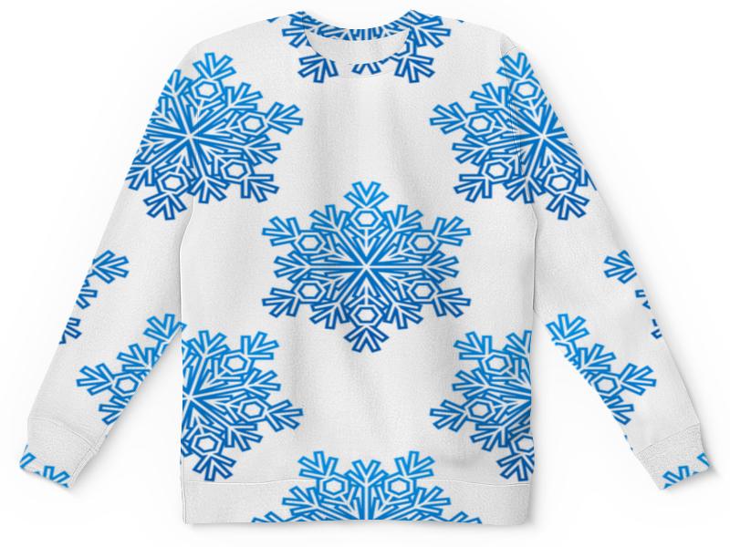 Детский свитшот унисекс Printio Голубые снежинки