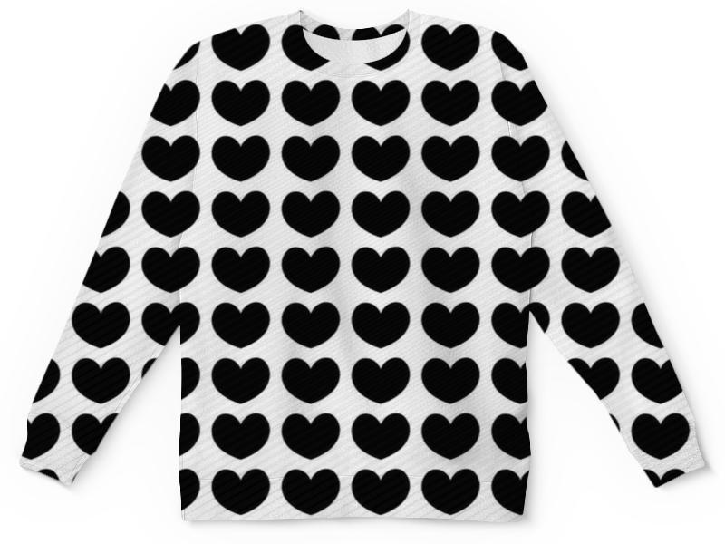 Детский свитшот унисекс Printio Черные сердечки
