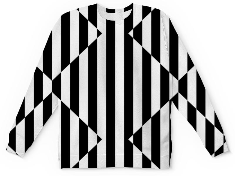 Детский свитшот унисекс Printio Ченая и белая полоски.зебра.тельняшка. цена и фото