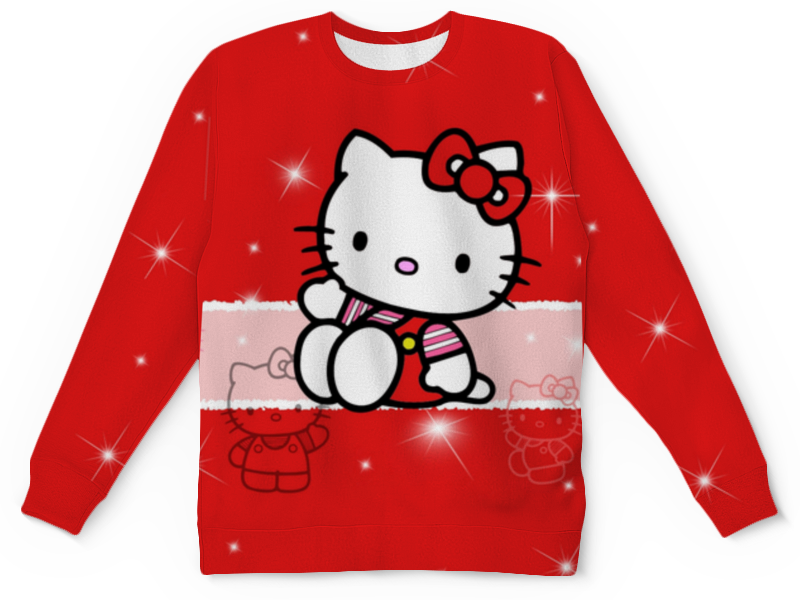 Детский свитшот унисекс Printio Hello kitty с искрами cxzyking 20cm sweet new kt cat hello kitty plush toys cute hug mushroom hello kitty kt cat pillow dolls for kids baby girl gift