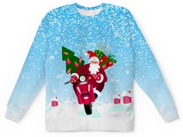 """Детский свитшот унисекс """"С Новым Годом!"""" - новый год, зима, дед мороз, санта клаус, на скутере"""