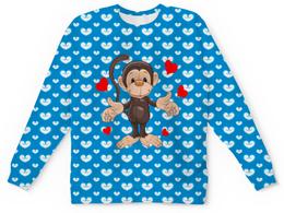 "Детский свитшот унисекс ""Обезьянка"" - сердце, любовь, животные, сердечки, обезьяна"