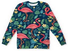 """Детский свитшот унисекс """"Птицы и тропики"""" - цветы, птицы, природа, птички, фламинго"""