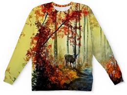 """Детский свитшот унисекс """"Осенняя роща"""" - пейзаж, лес, природа, животные, деревья"""