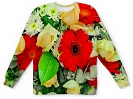 """Детский свитшот унисекс """"Букет цветов"""" - цветы, узор, весна, природа, цветочки"""