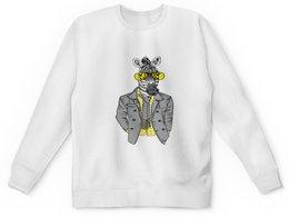 """Детский свитшот унисекс """"Без названия"""" - животные, зебра, очки, природа, конь в пальто"""