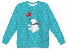 """Детский свитшот унисекс """"Белый медведь"""" - новый год, медведь, мишка, снежинки, белый медведь"""