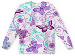 """Детский свитшот унисекс """"Цветные бабочки"""" - бабочки, цветы, узор, весна, природа"""