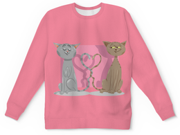 """Детский свитшот унисекс """"Влюблённые коты"""" - день св валентина, валентинка, коты, любовь"""