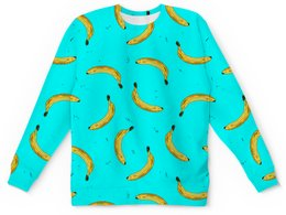 "Детский свитшот унисекс ""Бананы на голубом"" - рисунок, графика, абстракция, банан, от руки"