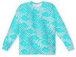 """Детский свитшот унисекс """"Тропические рыбки"""" - вода, рыбка, океан, полоса"""