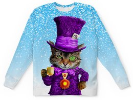 "Детский свитшот унисекс ""Чеширский котик"" - зима, коты, сказка, чеширский кот, в шляпе"