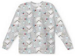 """Детский свитшот унисекс """"Зверек"""" - новый год, животные, снег, лиса, енот"""