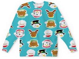 """Детский свитшот унисекс """"Новый год"""" - новый год, медведь, санта, олень, пингвин"""