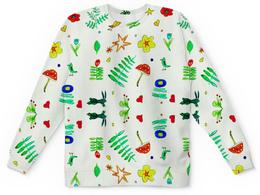 "Детский свитшот унисекс ""Детский Финская тема"" - цветы, птички, листики, мухомор, сердечки"