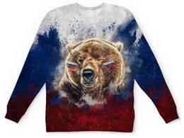 """Детский свитшот унисекс """"Русский Медведь"""" - футбол, медведь, россия, флаг, триколор"""