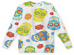 """Детский свитшот унисекс """"Расписные черепа"""" - череп, цветы, узор, роза, краски"""