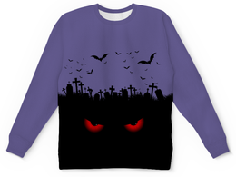"Детский свитшот унисекс ""Взгляд оттуда"" - рисунок, хэллоуин, взгляд, летучие мыши, кладбище"