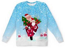 """Детский свитшот унисекс """"С Новым Годом!"""" - новый год, дед мороз, санта клаус, хрюша, на скутере"""