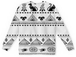 """Детский свитшот унисекс """"Египет"""" - кошка, черно-белые, иероглифы, египет, пирамиды"""