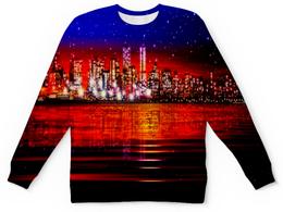 """Детский свитшот унисекс """"Ночной город"""" - звезды, город, ночь, вода, здания"""