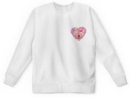 """Детский свитшот унисекс """"Розовые котята в седце."""" - любовь, сердце, детский, рисунок, кошка"""
