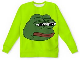 """Детский свитшот унисекс """"Грустная лягушка"""" - мем, meme, грустная лягушка, sad frog, pepe frog"""