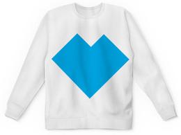 """Детский свитшот унисекс """"Голубое сердце танграм"""" - сердце, сердца, любовь, танграм, графика"""