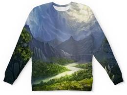 """Детский свитшот унисекс """"Пейзаж красками"""" - лес, природа, горы, пейзаж, река"""