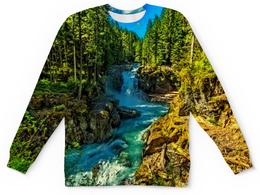 """Детский свитшот унисекс """"Лесной пейзаж"""" - природа, горы, река, деревья, пейзаж"""