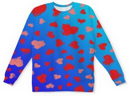 """Детский свитшот унисекс """"Узор сердечек"""" - сердце, любовь, сердечки, день валентина, день влюбленных"""