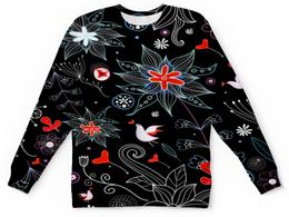 """Детский свитшот унисекс """"Цветочный сад"""" - цветы, сердца, птицы, природа, сердечки"""