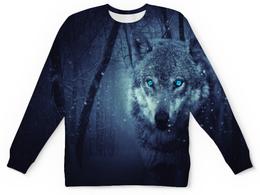 """Детский свитшот унисекс """"Волчий взгляд"""" - хищник, животные, снег, природа, волк"""