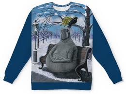 """Детский свитшот унисекс """"Ждун в зимнем парке"""" - зима, снег, парк, одежда со ждуном, ждун под зонтом"""