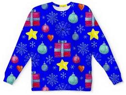 """Детский свитшот унисекс """"новый год"""" - новый год, звезды, зима, игрушки, подарки"""